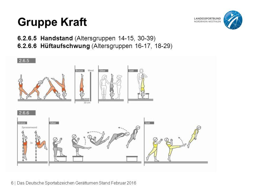 Gruppe Kraft 6.2.6.5 Handstand (Altersgruppen 14-15, 30-39)