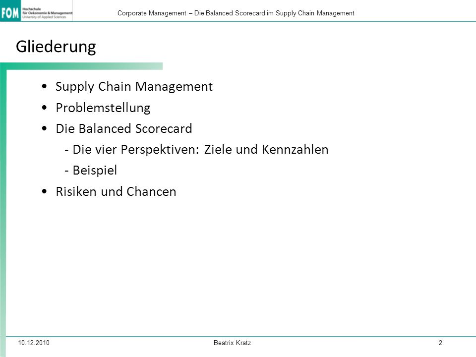 Gliederung Supply Chain Management Problemstellung