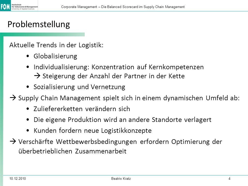 Problemstellung Aktuelle Trends in der Logistik: Globalisierung