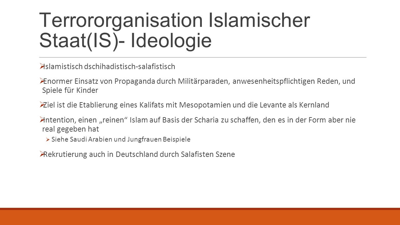Terrororganisation Islamischer Staat(IS)- Ideologie