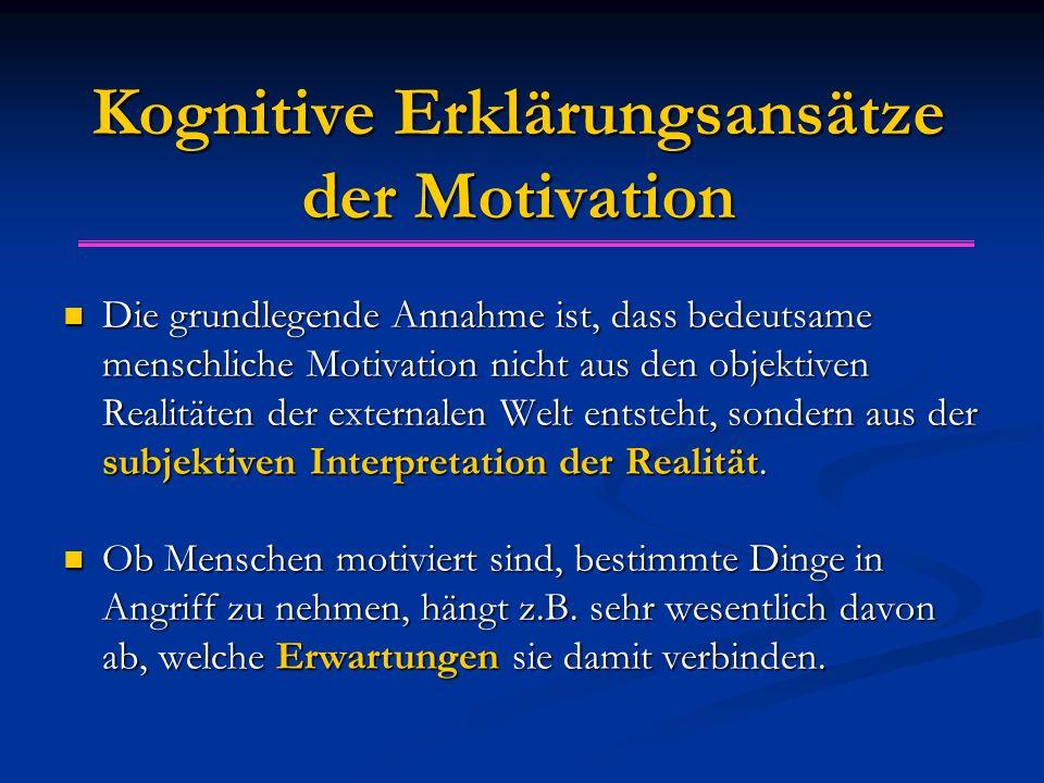 Kognitive Erklärungsansätze der Motivation
