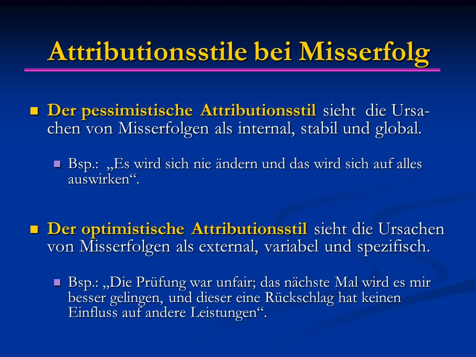 Attributionsstile bei Misserfolg