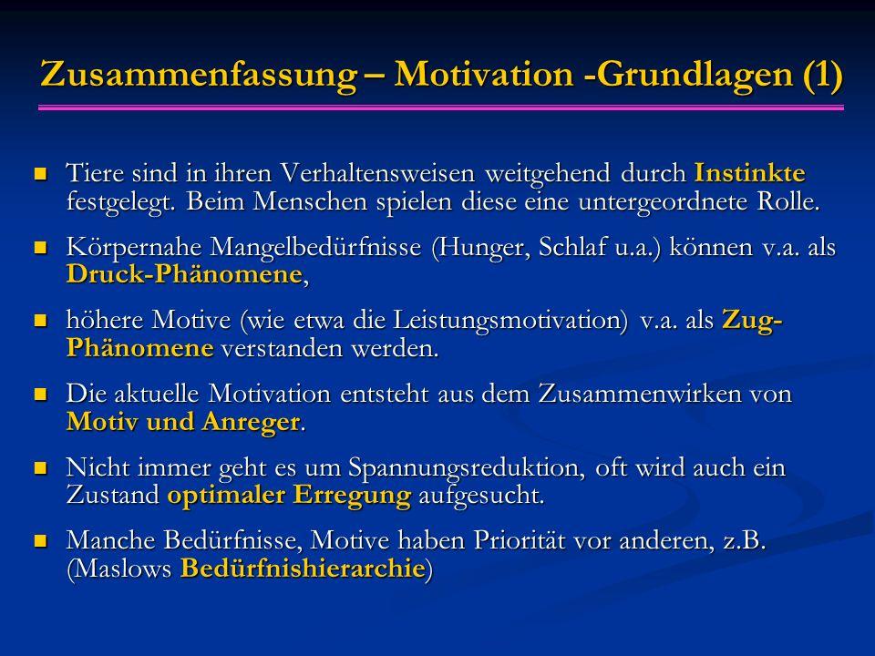 Zusammenfassung – Motivation -Grundlagen (1)