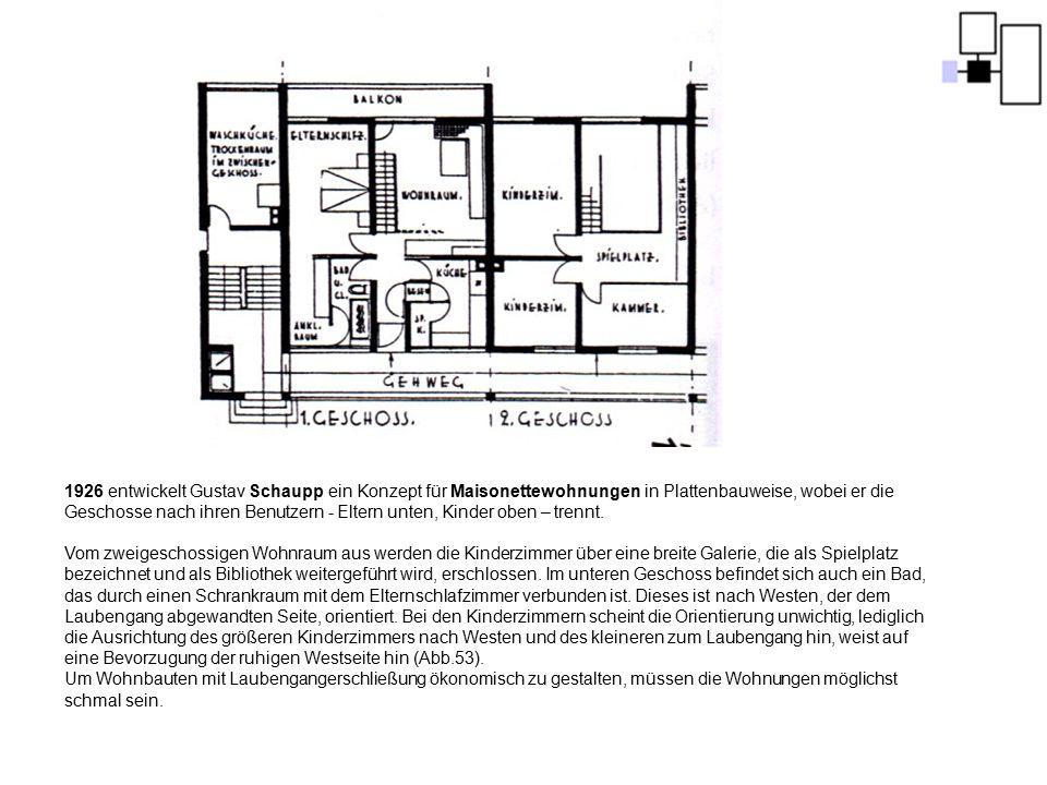 1926 entwickelt Gustav Schaupp ein Konzept für Maisonettewohnungen in Plattenbauweise, wobei er die Geschosse nach ihren Benutzern - Eltern unten, Kinder oben – trennt.