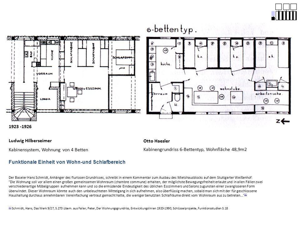 Kabinensystem, Wohnung von 4 Betten Otto Haesler