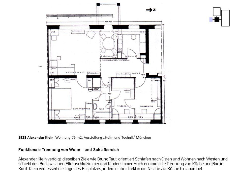 """1928 Alexander Klein, Wohnung 76 m2, Ausstellung """"Heim und Technik München"""