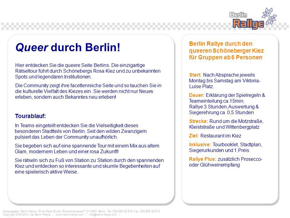 Queer durch Berlin! Berlin Rallye durch den queeren Schöneberger Kiez für Gruppen ab 6 Personen.