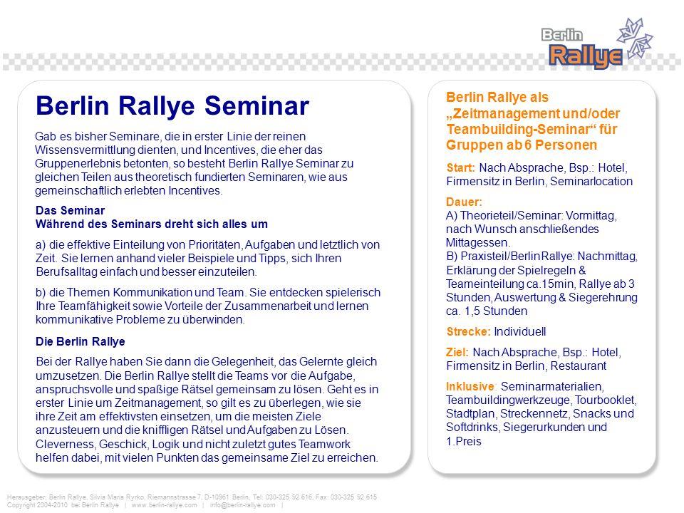 """Berlin Rallye Seminar Berlin Rallye als """"Zeitmanagement und/oder Teambuilding-Seminar für Gruppen ab 6 Personen."""