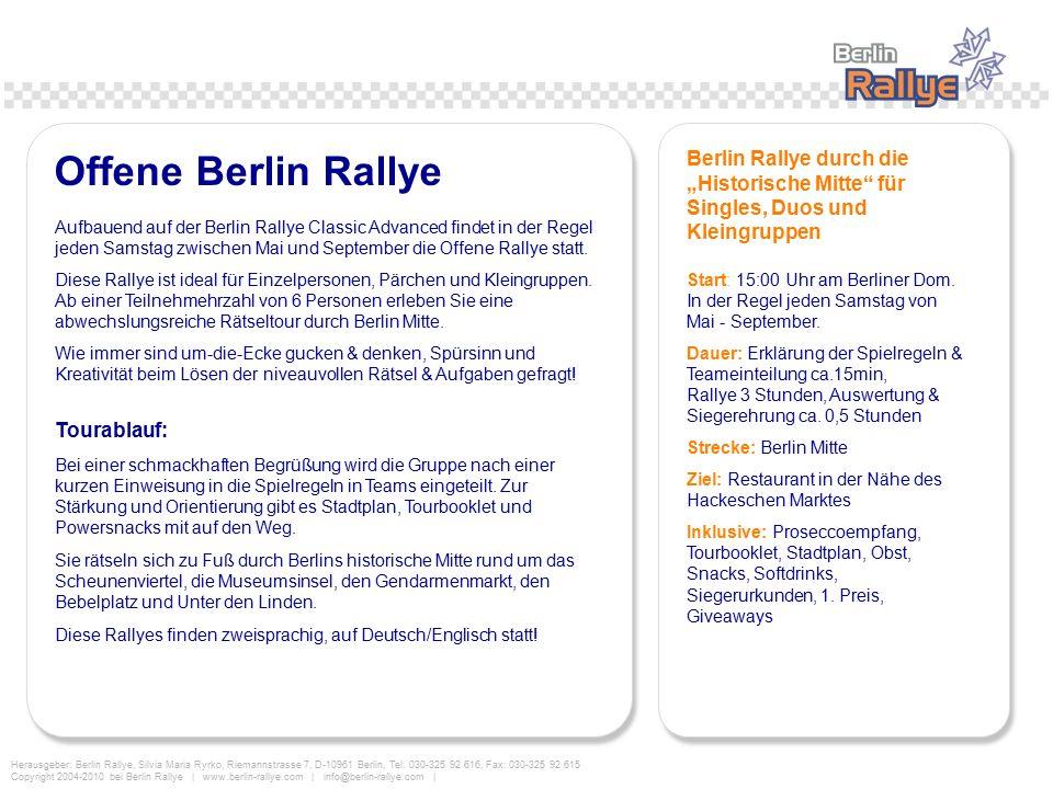 """Offene Berlin Rallye Berlin Rallye durch die """"Historische Mitte für Singles, Duos und Kleingruppen."""