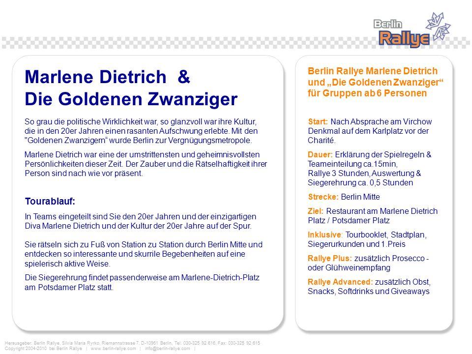 Marlene Dietrich & Die Goldenen Zwanziger