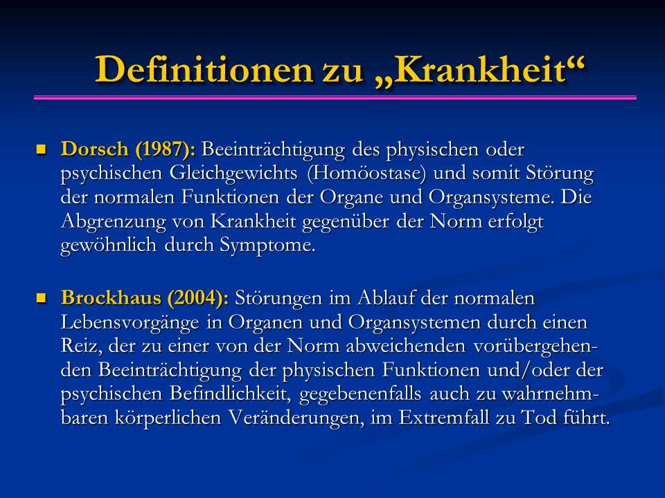 """Definitionen zu """"Krankheit"""