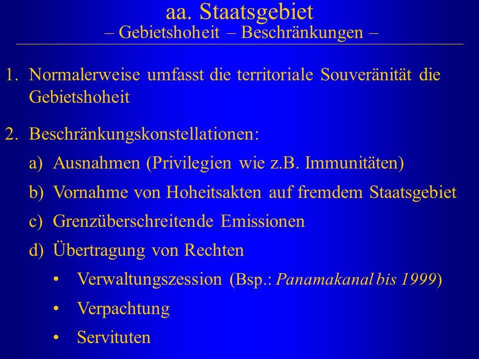 aa. Staatsgebiet – Gebietshoheit – Beschränkungen –