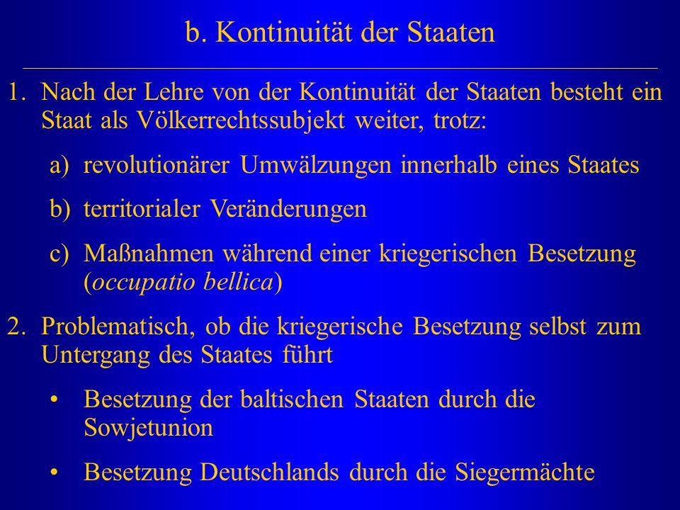 b. Kontinuität der Staaten