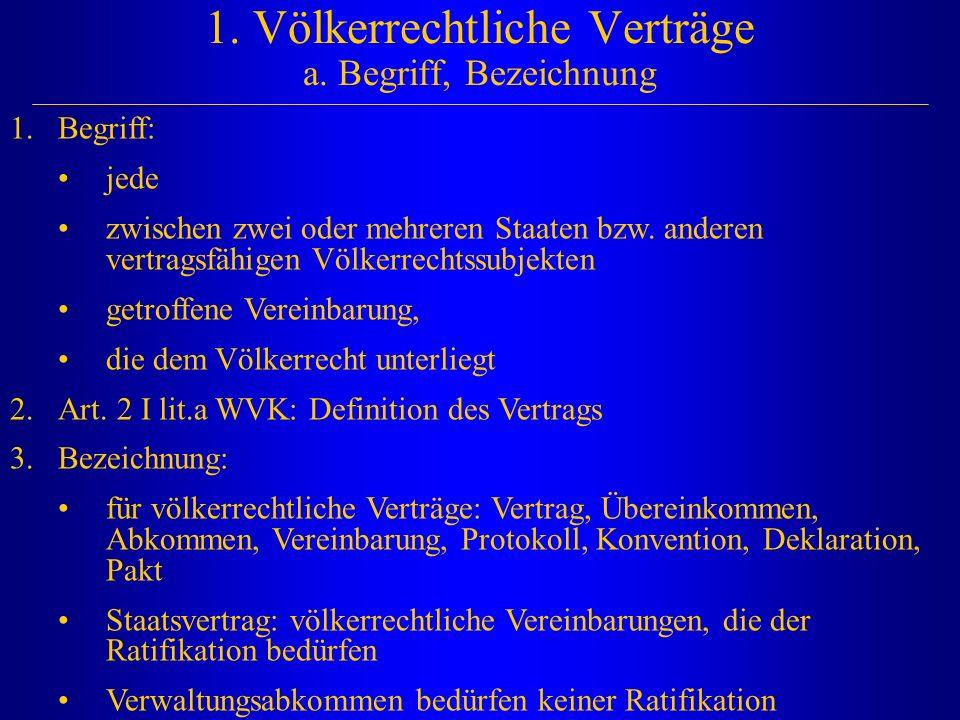 1. Völkerrechtliche Verträge a. Begriff, Bezeichnung