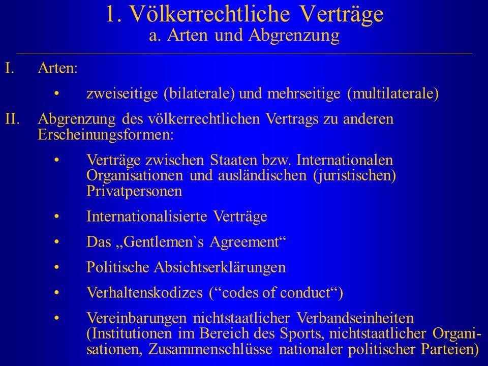 1. Völkerrechtliche Verträge a. Arten und Abgrenzung