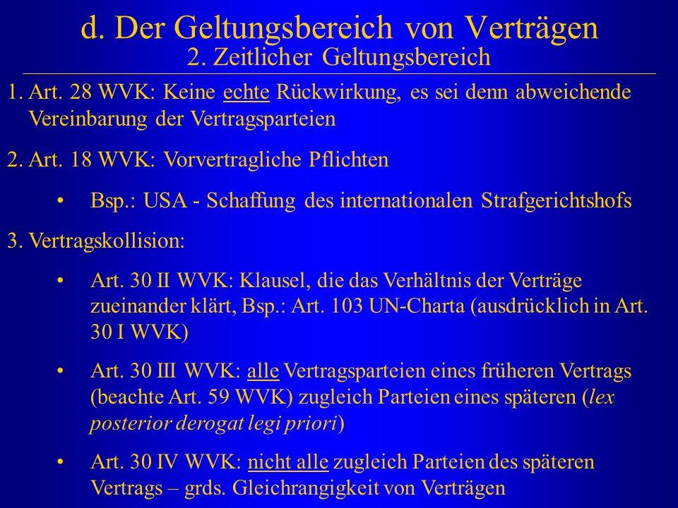d. Der Geltungsbereich von Verträgen 2. Zeitlicher Geltungsbereich