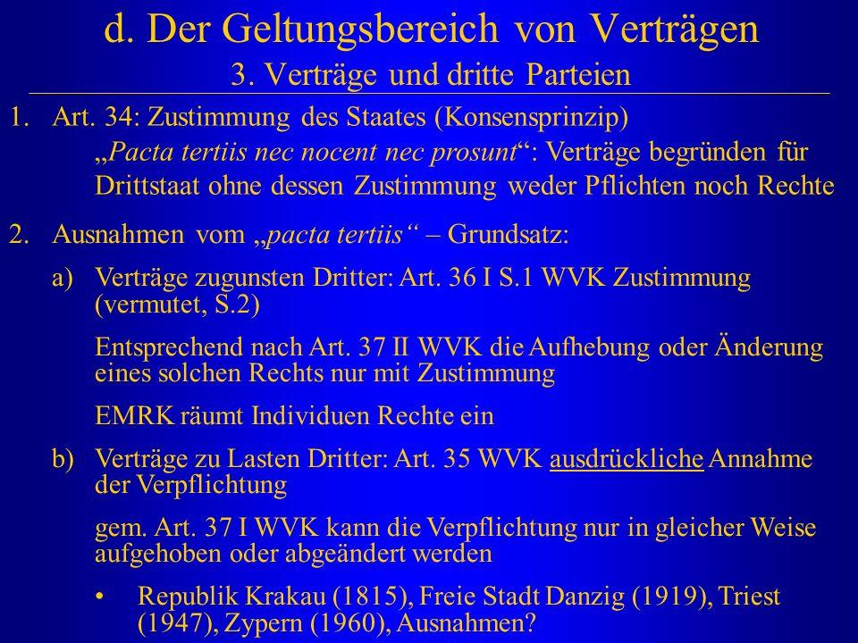 d. Der Geltungsbereich von Verträgen 3. Verträge und dritte Parteien