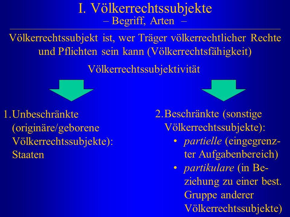 I. Völkerrechtssubjekte – Begriff, Arten –