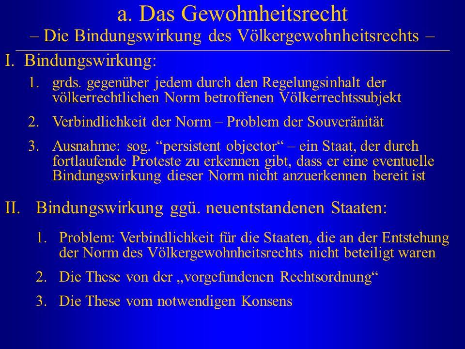 a. Das Gewohnheitsrecht – Die Bindungswirkung des Völkergewohnheitsrechts –