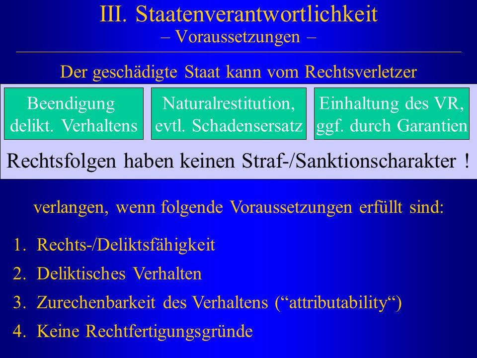 III. Staatenverantwortlichkeit – Voraussetzungen –