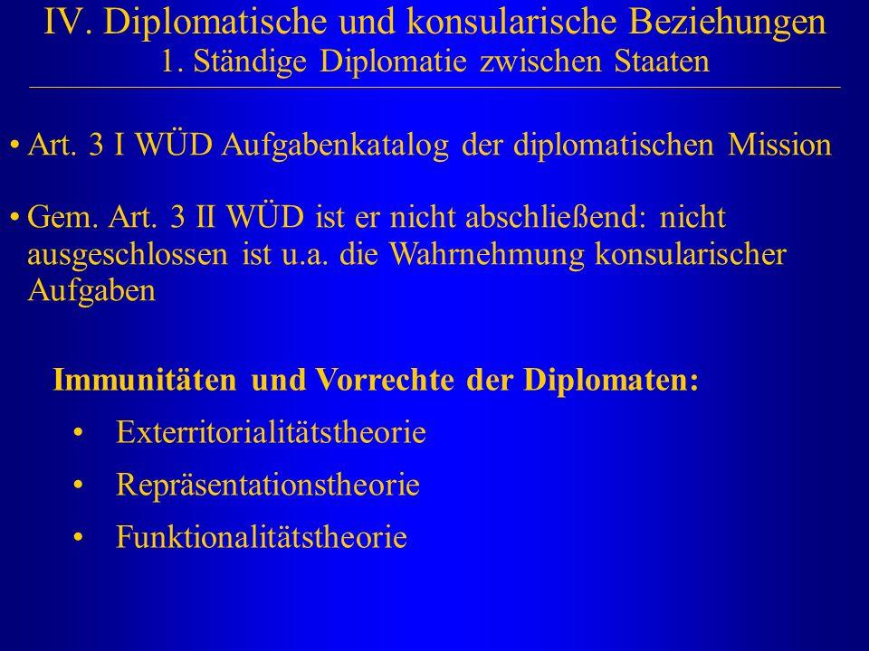 IV. Diplomatische und konsularische Beziehungen 1