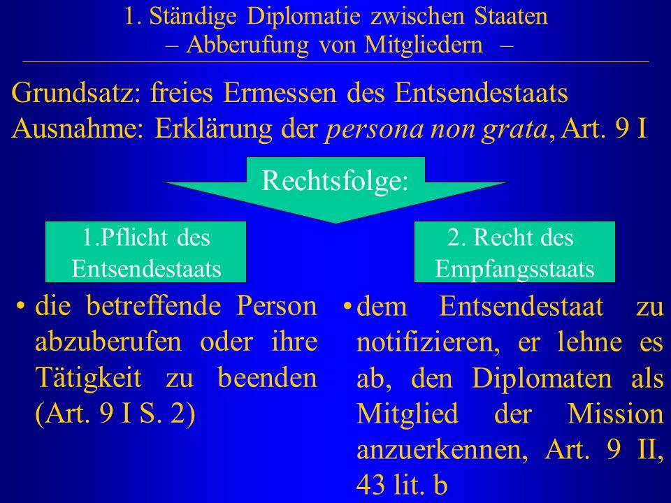 1. Ständige Diplomatie zwischen Staaten – Abberufung von Mitgliedern –
