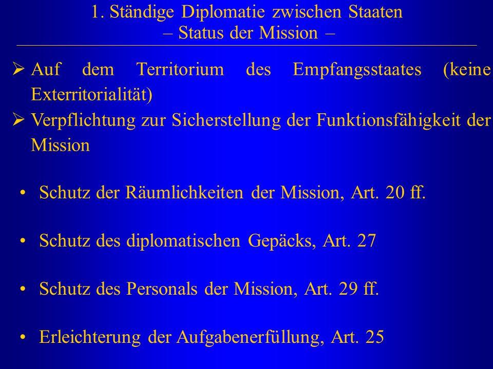 1. Ständige Diplomatie zwischen Staaten – Status der Mission –