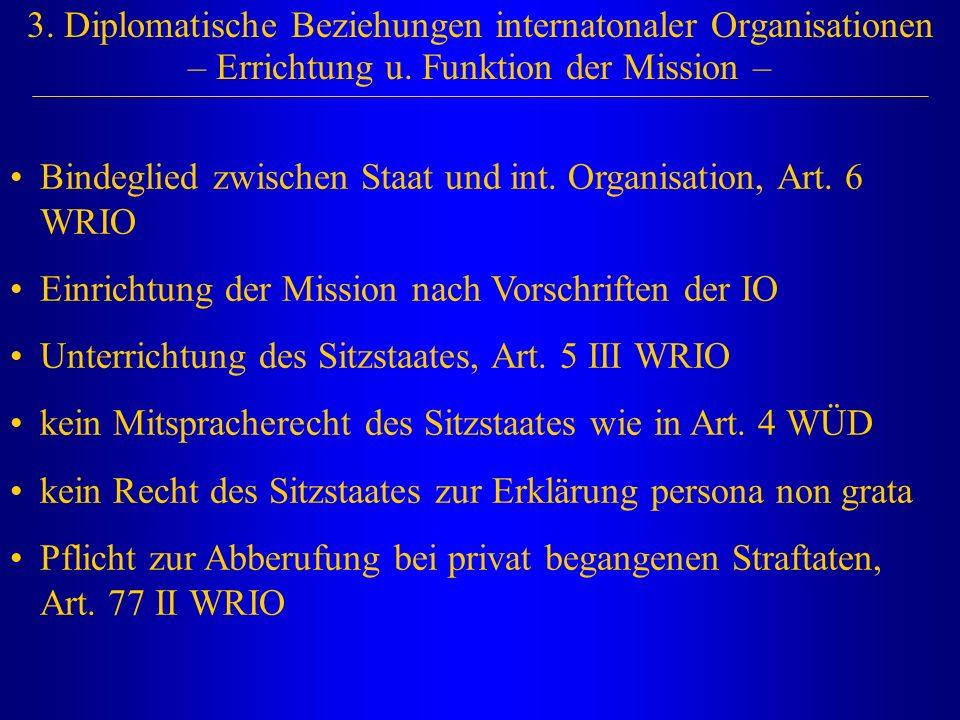 3. Diplomatische Beziehungen internatonaler Organisationen – Errichtung u. Funktion der Mission –