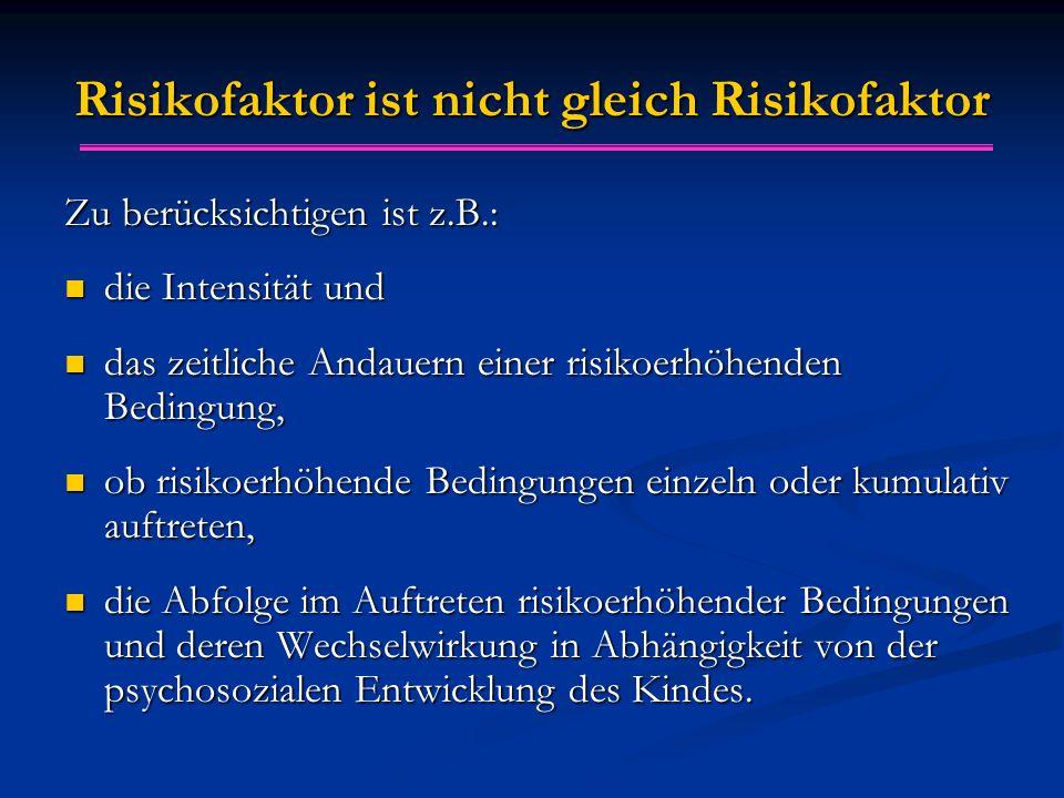 Risikofaktor ist nicht gleich Risikofaktor