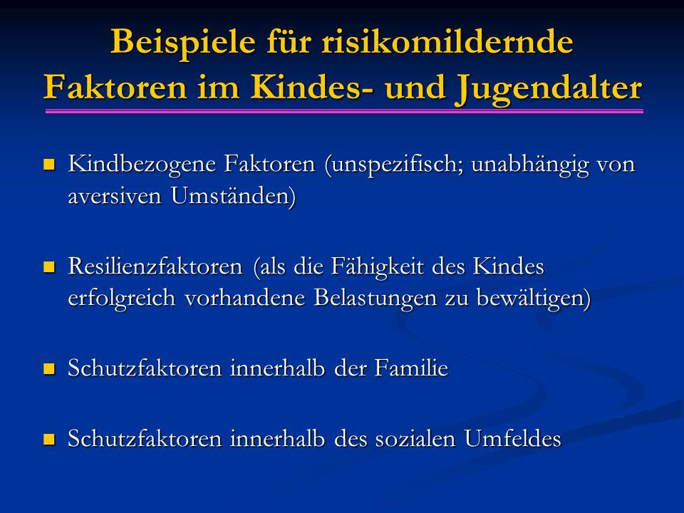 Beispiele für risikomildernde Faktoren im Kindes- und Jugendalter