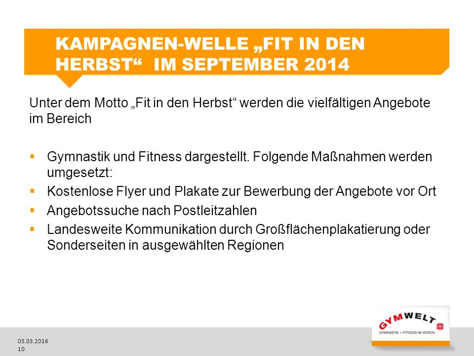 "Kampagnen-Welle ""Fit in den Herbst im September 2014"