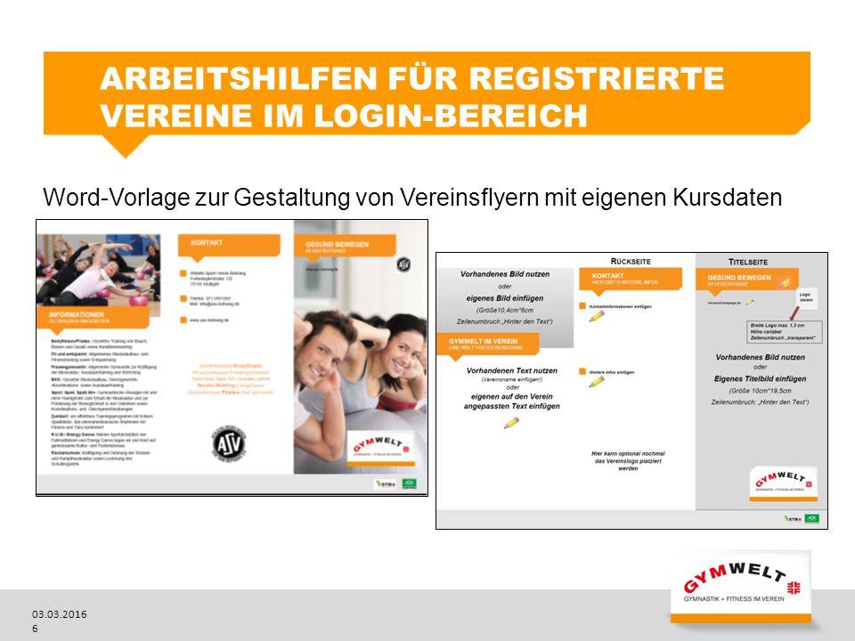 Arbeitshilfen für registrierte Vereine im Login-Bereich