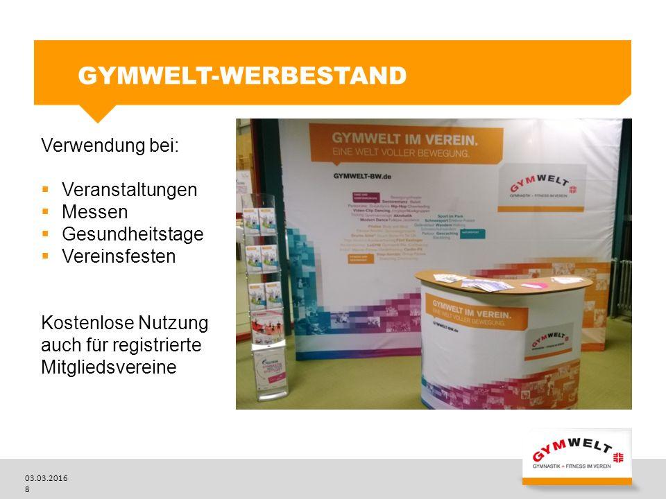 GYMWELT-Werbestand Verwendung bei: Veranstaltungen Messen