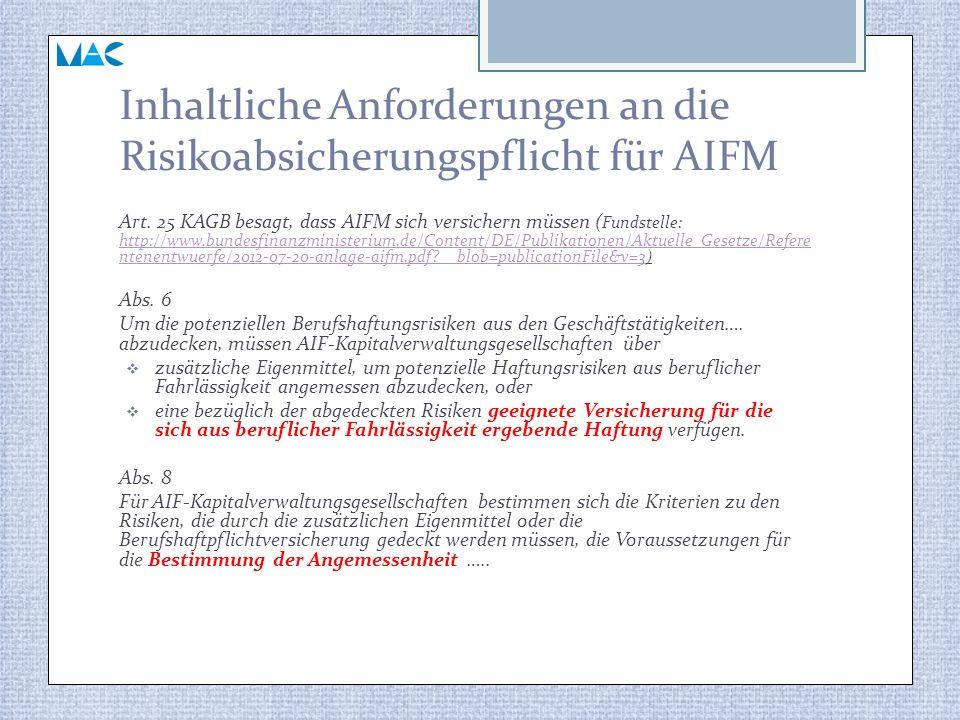 Inhaltliche Anforderungen an die Risikoabsicherungspflicht für AIFM