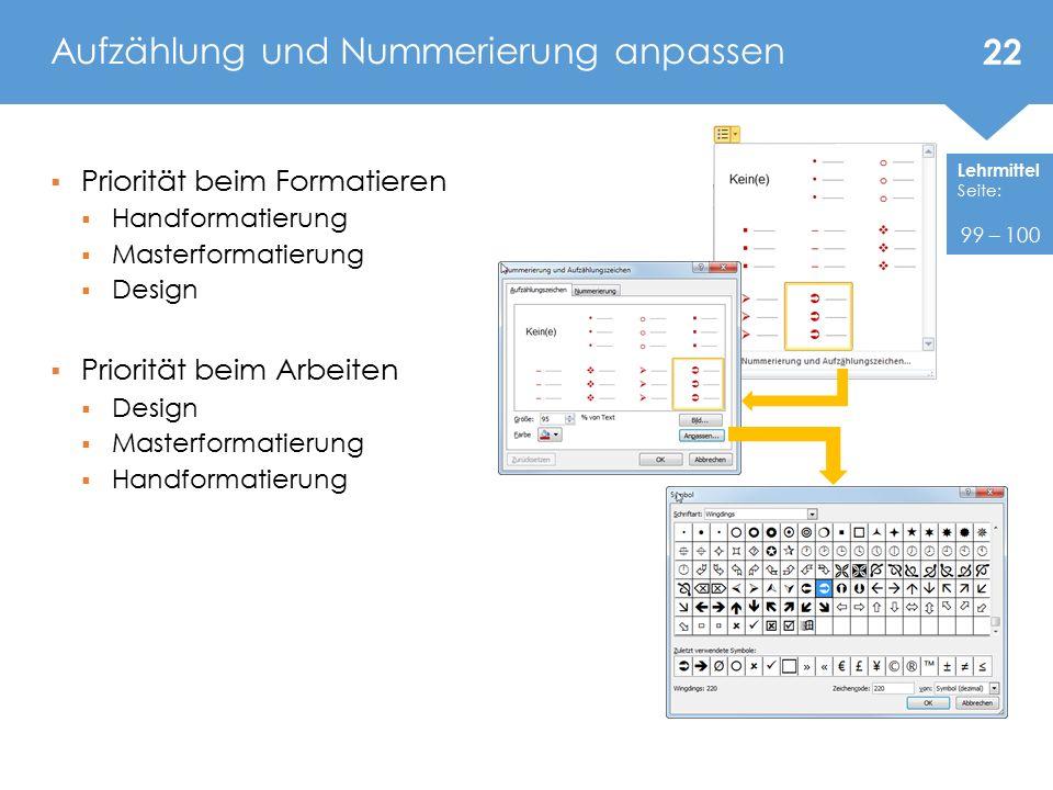 Aufzählung und Nummerierung anpassen