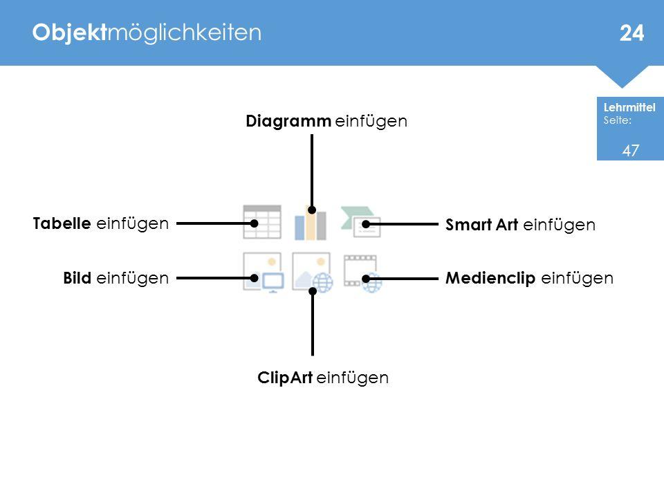 Objektmöglichkeiten Diagramm einfügen 47 Tabelle einfügen
