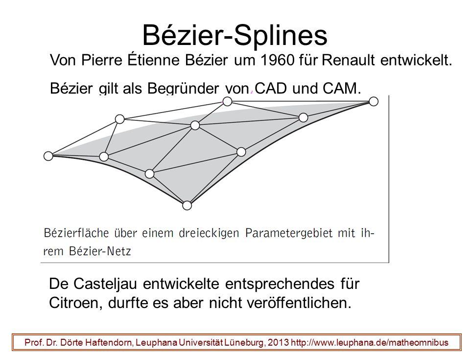 Bézier-Splines Von Pierre Étienne Bézier um 1960 für Renault entwickelt. Bézier gilt als Begründer von CAD und CAM.