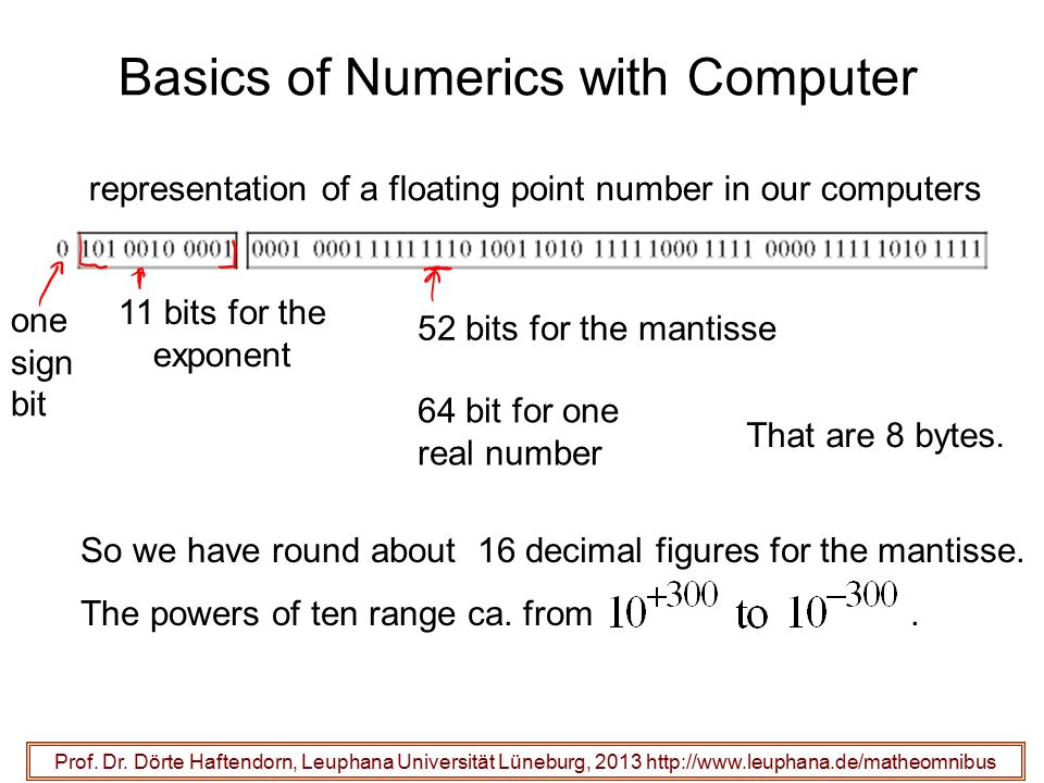Basics of Numerics with Computer