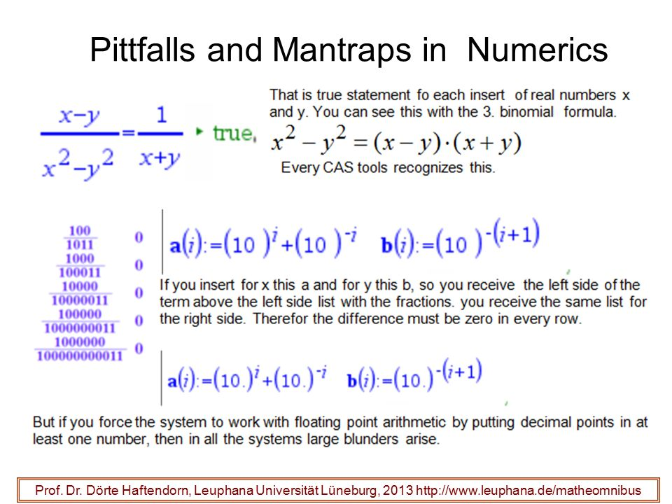 Pittfalls and Mantraps in Numerics