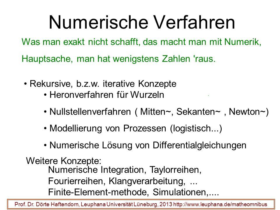 Numerische Verfahren Was man exakt nicht schafft, das macht man mit Numerik, Hauptsache, man hat wenigstens Zahlen raus.