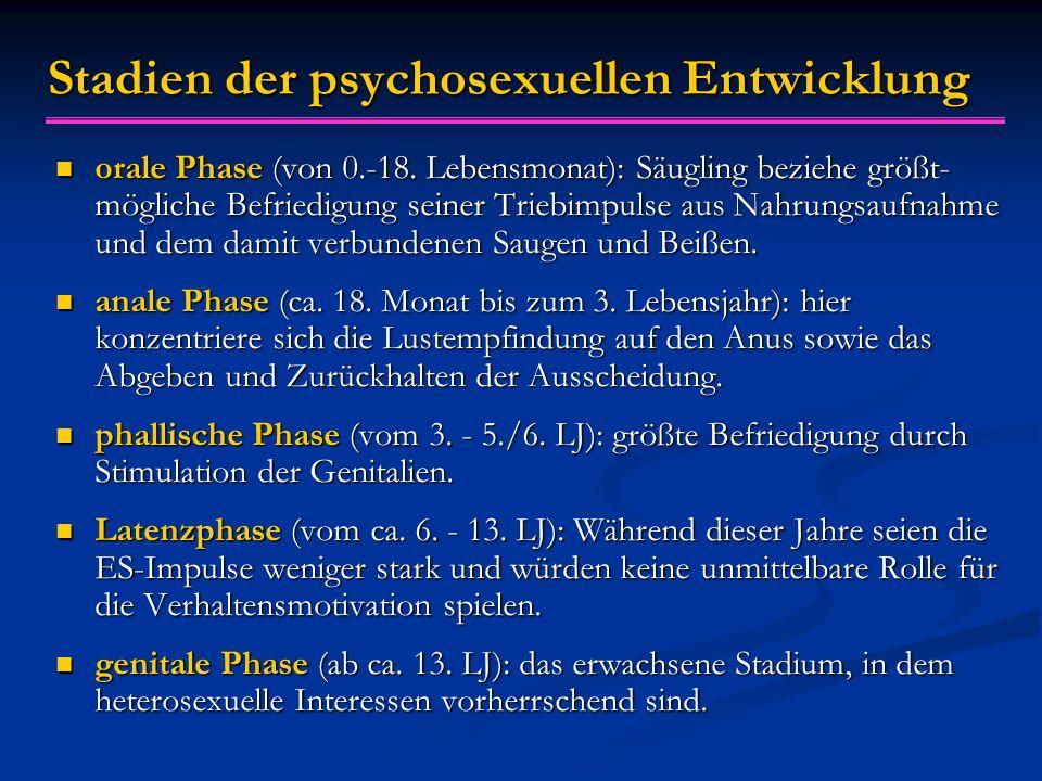 Stadien der psychosexuellen Entwicklung