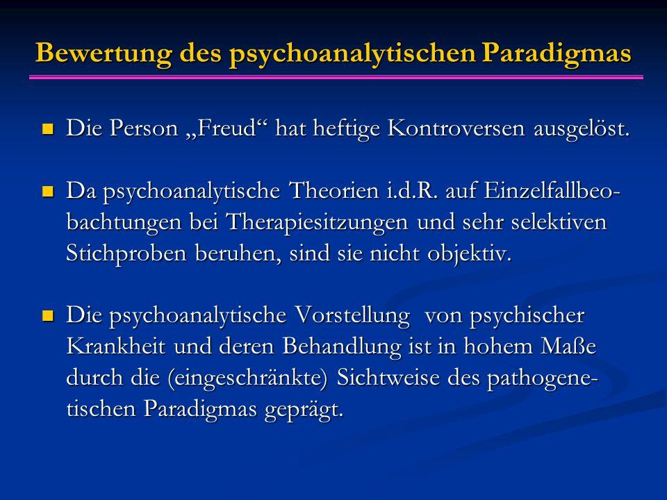 Bewertung des psychoanalytischen Paradigmas