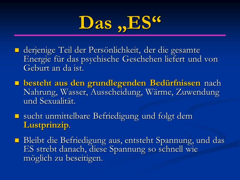 """Das """"ES derjenige Teil der Persönlichkeit, der die gesamte Energie für das psychische Geschehen liefert und von Geburt an da ist."""