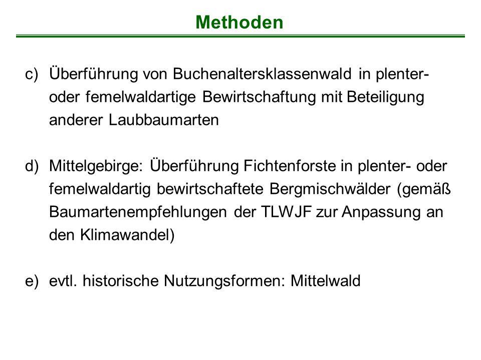 Methoden Überführung von Buchenaltersklassenwald in plenter- oder femelwaldartige Bewirtschaftung mit Beteiligung anderer Laubbaumarten.