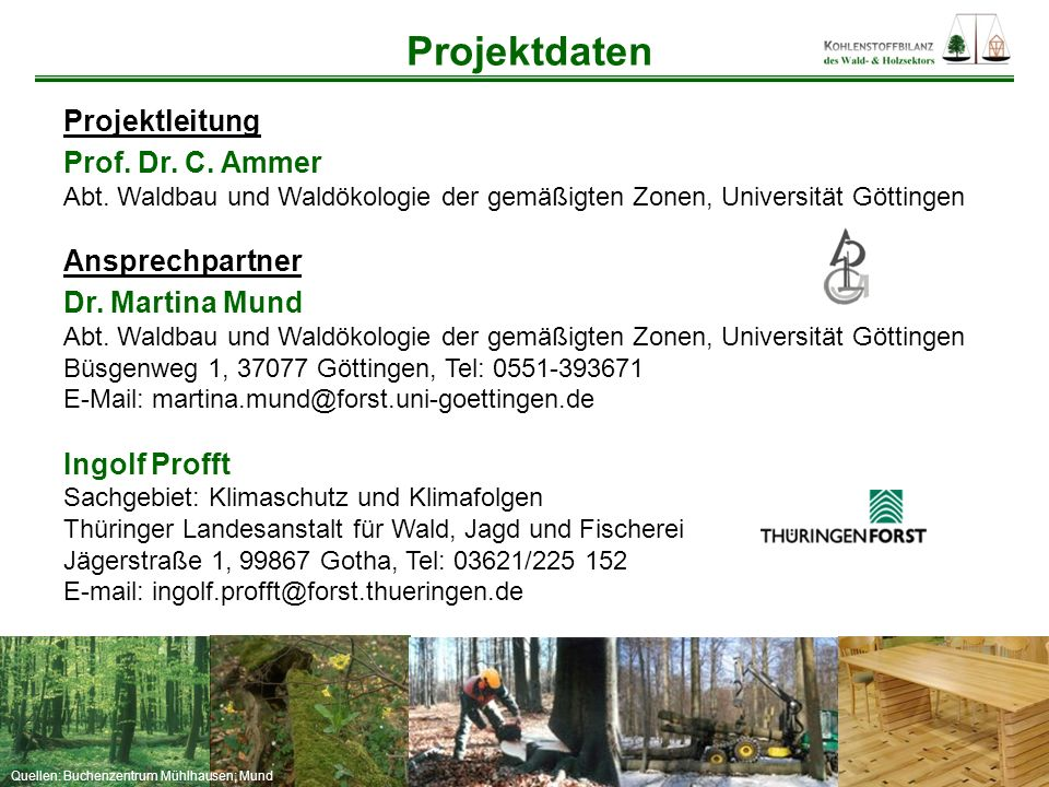 Projektdaten Projektleitung Prof. Dr. C. Ammer Ansprechpartner