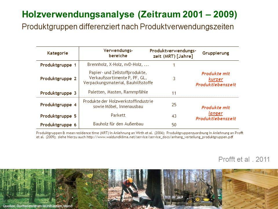 Holzverwendungsanalyse (Zeitraum 2001 – 2009)