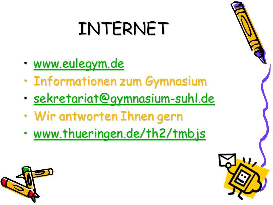 INTERNET www.eulegym.de Informationen zum Gymnasium