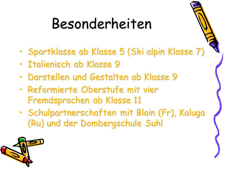 Besonderheiten Sportklasse ab Klasse 5 (Ski alpin Klasse 7)
