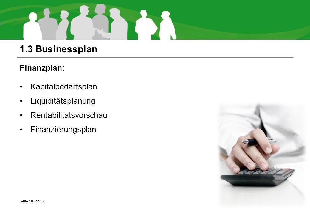 1.3 Businessplan Finanzplan: Kapitalbedarfsplan Liquiditätsplanung