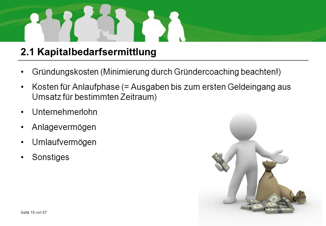 2.1 Kapitalbedarfsermittlung